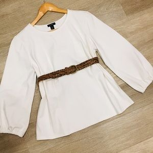 NWOT Halogen Ivory white L/S blouse top XL